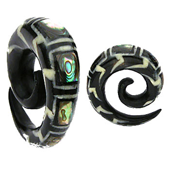 Spiral organic buffalo horn taper with abalone inlay
