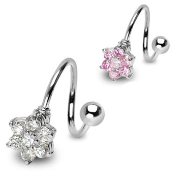 Steel twister barbell with jeweled flower, 14 ga