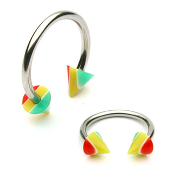 Stainless steel circular (horseshoe) barbell with rasta cones, 16 ga
