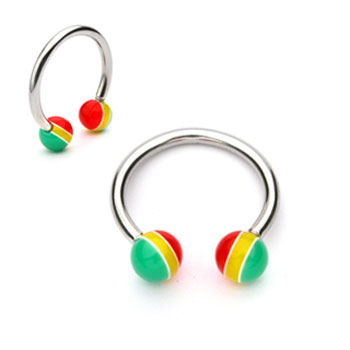 Stainless Steel Circular (Horseshoe) Barbell with Rasta Balls, 16 Ga
