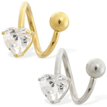 14K Yellow Gold Twister Barbell with CZ Heart