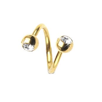 Gold Tone Twister Barbell With Jeweled Balls, 14 Ga
