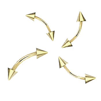 Gold Tone eyebrow ring with cones, 14 ga