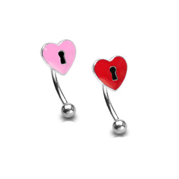 Curved barbell with heart lock top, 16 ga
