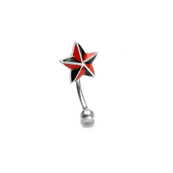 Curved barbell with black and red star top, 16 ga
