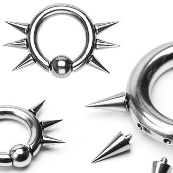 316L Surgical Steel Captive Bead Ring w/ 6 Internally Threaded Spikes, 10ga