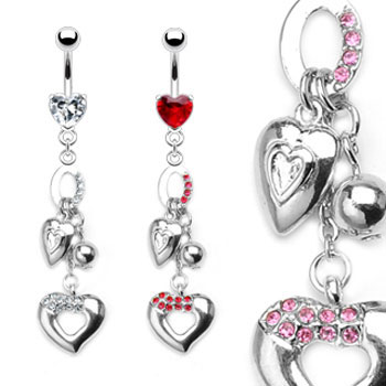 Jeweled heart navel ring with dangling jeweled hearts