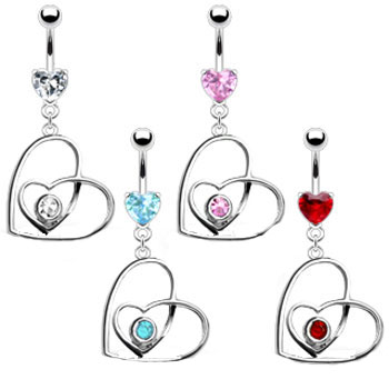 Belly ring with jeweled heart inside dangling crooked heart
