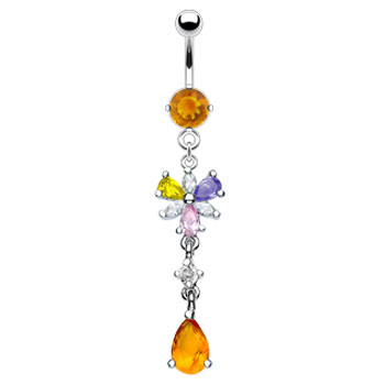 Citrine colored jeweled belly ring with dangling multi-color flower and citrine stone