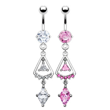 Belly ring with dangling jeweled triangle CZs
