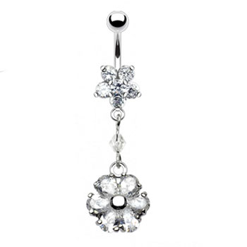 Jeweled star belly ring with dangling flower