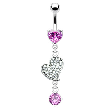 Belly ring with dangling jewel paved heart and gem