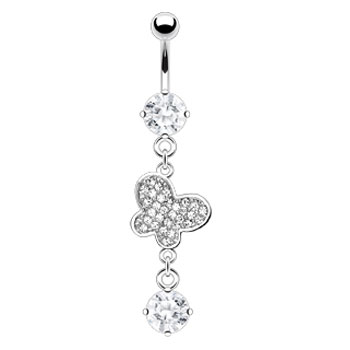 Navel ring with dangling jewel paved butterfly and gem