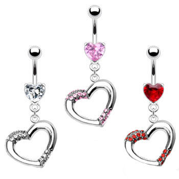 Heart belly ring with dangling jeweled heart