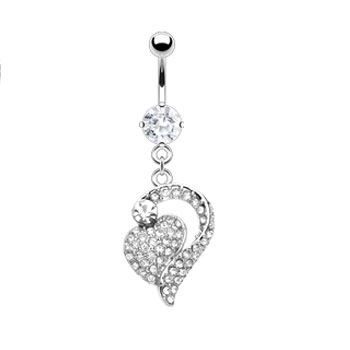 Belly ring with Multi Gem Paved Heart to Heart Dangle