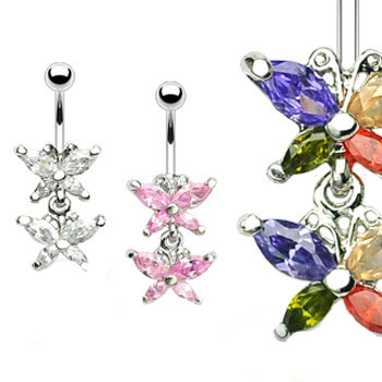 Double jeweled butterfly belly ring