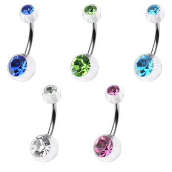 Double jeweled clear colored belly ring