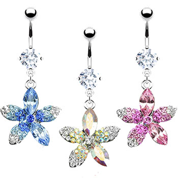 Belly ring with dangling jeweled multi-toned flower