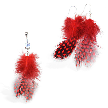 Red Polka dot Feather Belly Ring and Earring Set