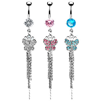 Belly button ring with dangling jeweled butterfly with chains