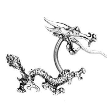 Dragon Curved Barbell With Top Head And Bottom Tail