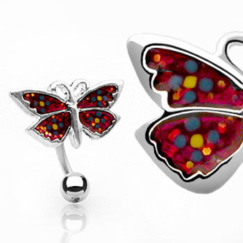 Red glitter reversed butterfly belly ring