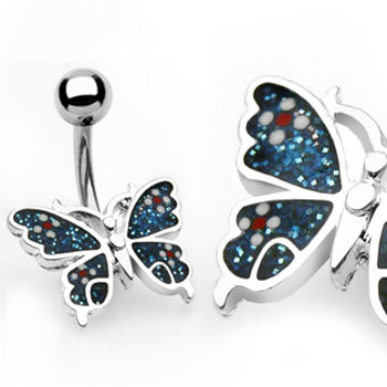 Blue glitter butterfly belly button ring