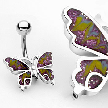 Colorful Glitter Butterfly Belly Button Ring