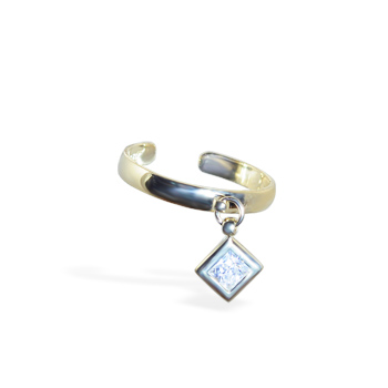 14K Gold Toe Ring With Dangling Jeweled Diamond