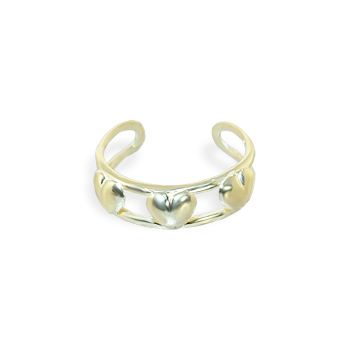 14K Gold toe ring with three hearts