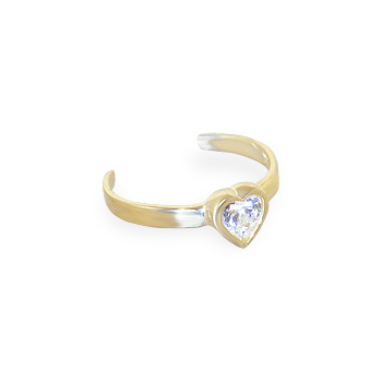 14K Gold Toe Ring With Jeweled Bezel Set Heart