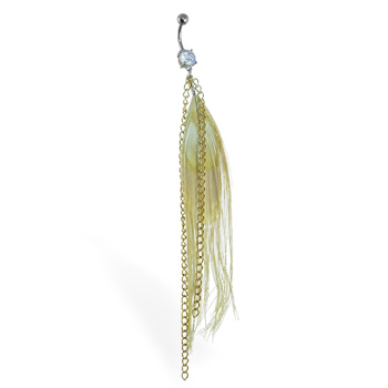 Belly ring with large dangling golden feather with golden chains
