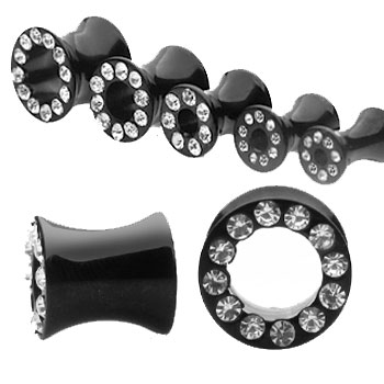 Pair Of Black Titanium Plated Hollow Jeweled Saddle Tunnels