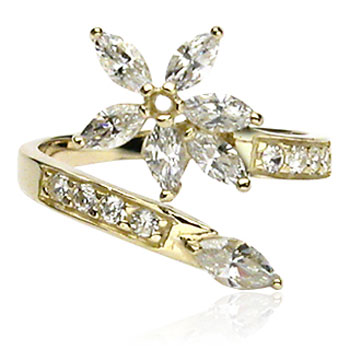 10kt gold jeweled toe ring with big jeweled flower
