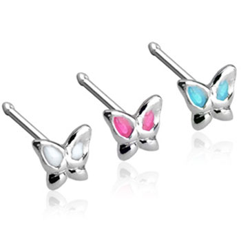 Sterling silver 3mm painted butterfly nose bone, 20 ga