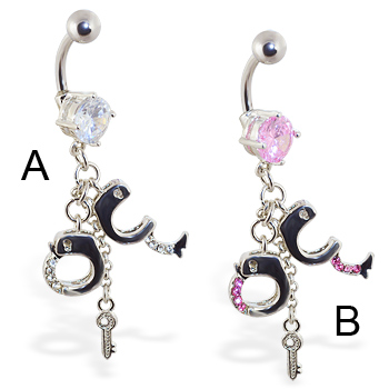 Navel ring with dangling jeweled handcuffs and key