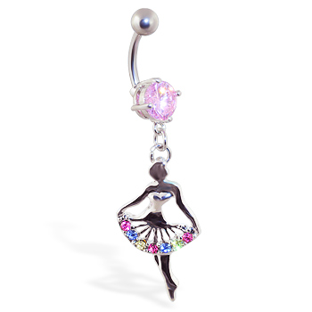 Navel ring with dangling multi-color ballerina