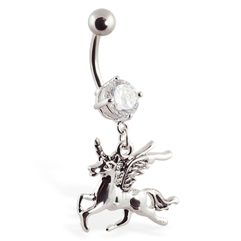 Navel Ring With Dangling Unicorn