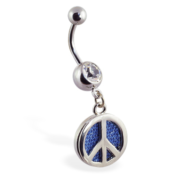 Navel ring with dangling denim peace sign