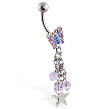 Butterfly navel ring with dangles and stars