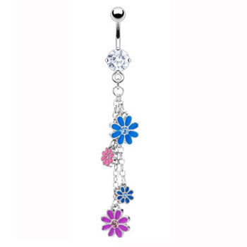 Navel ring with dangling multicolored flowers