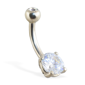 14K white gold belly button ring with round stone and jeweled top ball