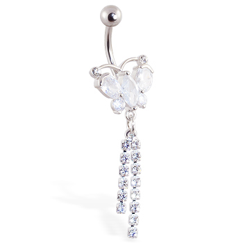 Jeweled butterfly navel ring with jeweled dangles