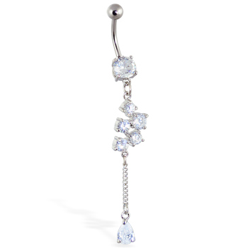 Belly ring with Pretty Dangling Tear Drop