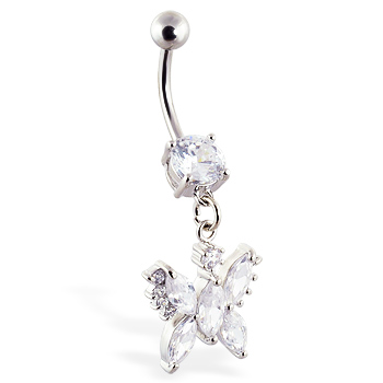 Navel ring with dangling jeweled butterfly