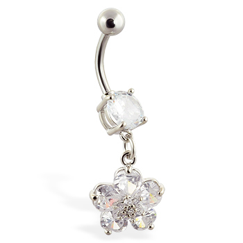 Navel ring with dangling clear jeweled flower