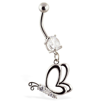 Navel ring with dangling side angle butterfly