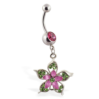 Navel ring with dangling pink and green flower