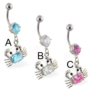 Navel ring with dangling jeweled crab