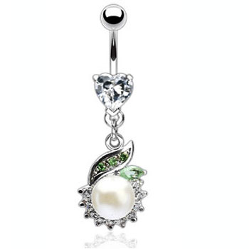 Heart gem navel ring with jeweled dangle and large pearl